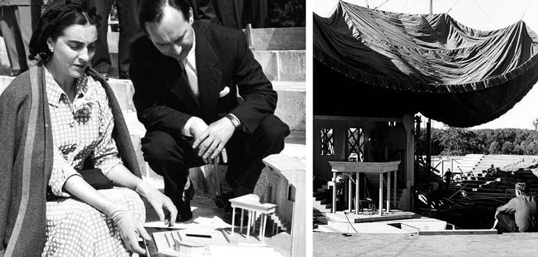 Left: Designer Tanya Moiseiwitsch and Assistant Director Cecil Clark with an original set model. | Right: Lowering the tent over the original stage. Photos by Peter Smith.