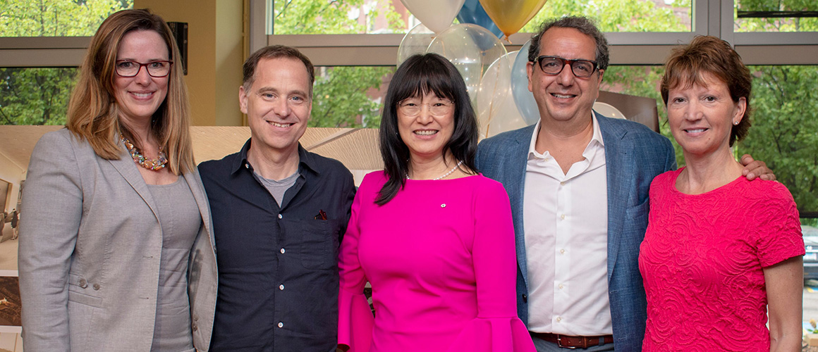 (From left) Anita Gaffney, Daniel Bernstein, Ophelia Lazaridis, Siamak Hariri and Lee Myers at the Spirit Within kick-off event, a campaign for the artists, artisans, staff and volunteers of the Festival. Photo by Scott Wishart