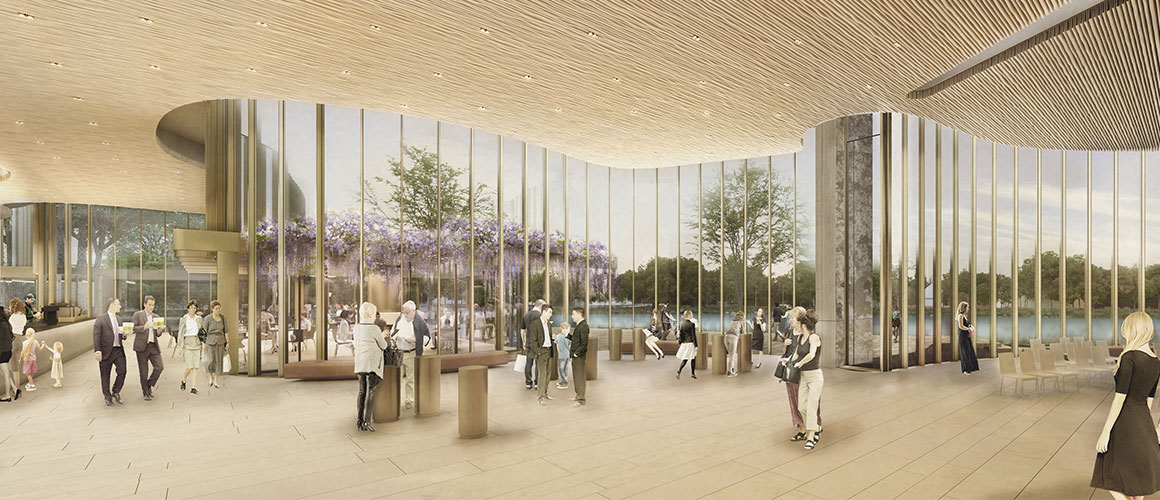 A rendering of the interior lobby of the new Tom Patterson Theatre.