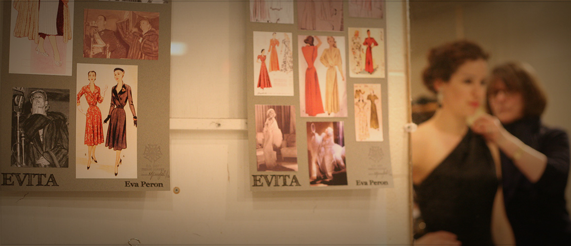 Wardrobe fitting for Evita with actor Chilina Kennedy.