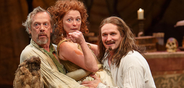 From left: Stephen Ouimette as Subtle, Brigit Wilson as Dol Common and Jonathan Goad as Face in The Alchemist. Photography by David Hou.