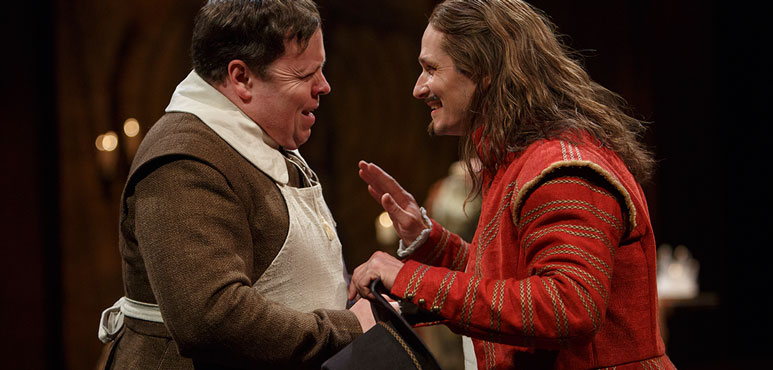 Steve Ross (left) as Drugger and Jonathan Goad as Face in The Alchemist. Photography by David Hou.