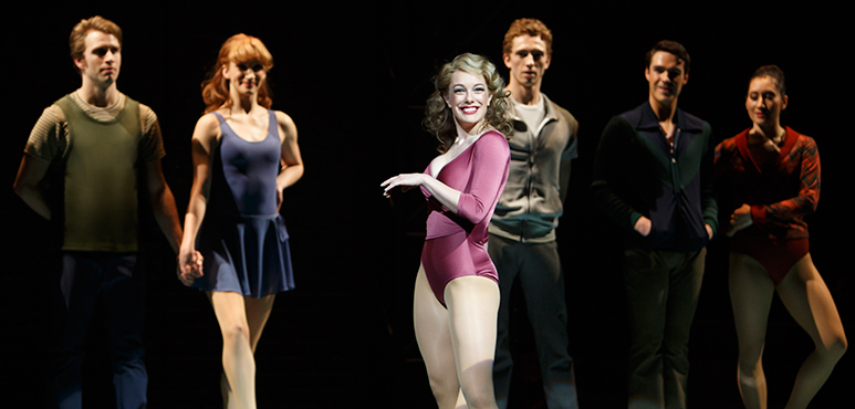 Julia McLellan as Val (centre) with members of the company. Photo by David Hou.