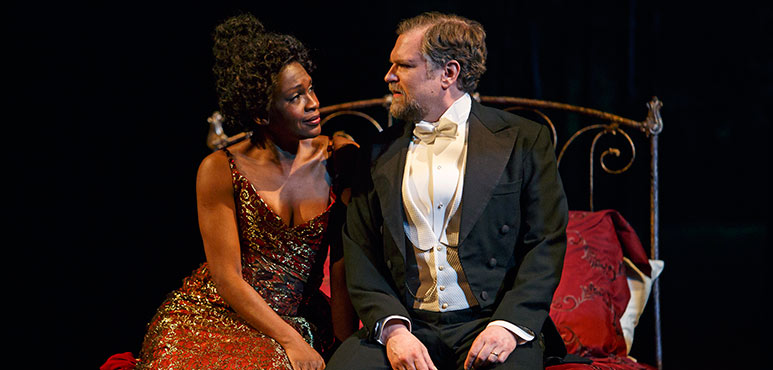 Yanna McIntosh as Désirée Armfeldt and Ben Carlson as Fredrik Egerman. Photography by David Hou.