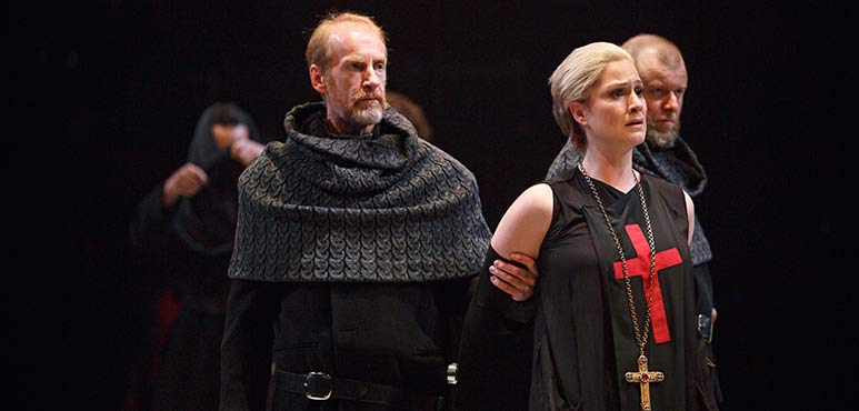 From left: Tom Rooney (ensemble), Carly Street as Archbishop of York and Randy Hughson (ensemble). Photography by David Hou.