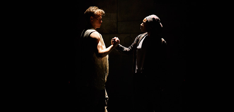 Gareth Potter as Aeneas and Lanise Antoine Shelley as Elissa. Photography by David Hou.