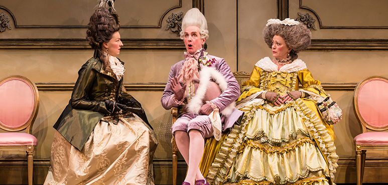 From left: Maev Beaty as Lady Sneerwell, Tom Rooney as Sir Benjamin Backbite and Brigit Wilson as Mrs. Candour. Photography by Cylla von Tiedemann.