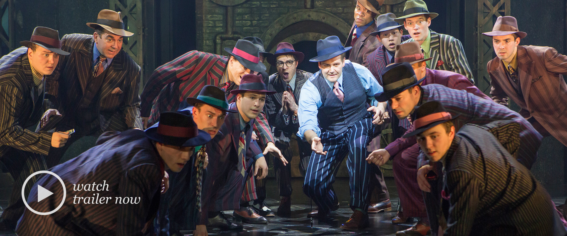 Publicity image from Guys & Dolls featuring company members