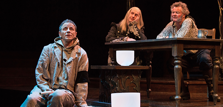 From left: Brent Carver as Feste, Tom Rooney as Sir Andrew Aguecheek and Geraint Wyn Davies as Sir Toby Belch. Photography by Cylla von Tiedemann.