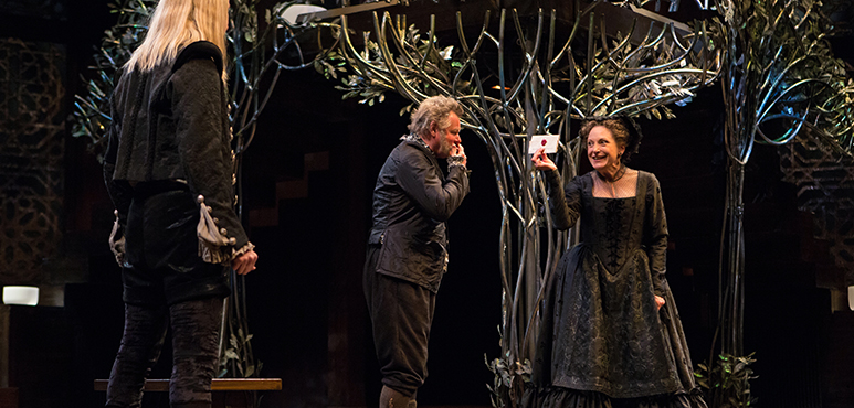 From left: Tom Rooney as Sir Andrew Aguecheek, Geraint Wyn Davies as Sir Toby Belch and Lucy Peacock as Maria. Photography by Cylla von Tiedemann.