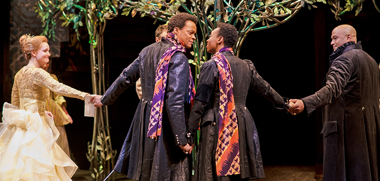 From left: Shannon Taylor as Olivia, Michael Blake as Sebastian, Sarah Afful as Viola and E.B. Smith as Orsino. Photography by Cylla von Tiedemann.