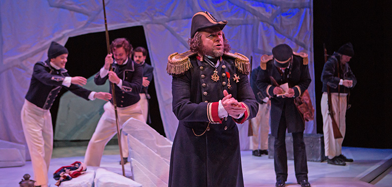 Randy Hughson as Sir John Franklin with members of the company. Photography by Cylla von Tiedemann.