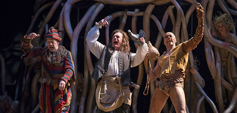From left: Stephen Ouimette as Trinculo, Tom McCamus as Stephano and Michael Blake as Caliban. Photography by David Hou.