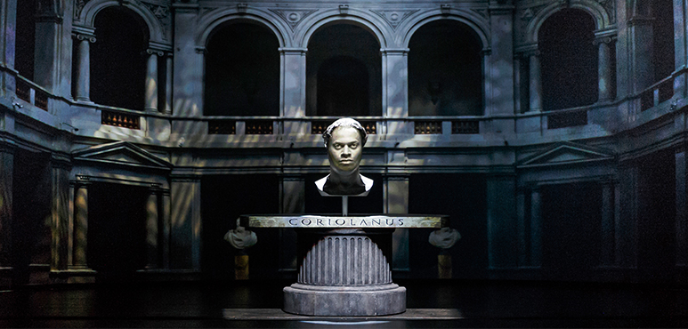 Projected image of André Sills as Coriolanus. Photography by David Hou.