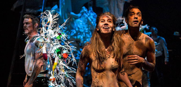 Amelia Sargisson as Eve and Qasim Khan as Adam with members of the company. Photography by Cylla von Tiedemann.