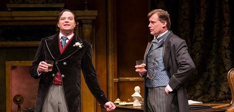 Brad Hodder as Lord Arthur Goring and Tim Campbell as Sir Robert Chiltern. Photography by Emily Cooper.