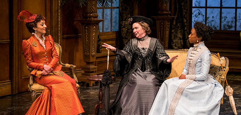 From left: Bahareh Yaraghi as Mrs. Laura Cheveley, Marion Adler as Lady Markby and Sophia Walker as Lady Gertrude Chiltern. Photography by Emily Cooper.
