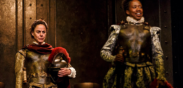Michelle Giroux (left) as Mark Antony and Sophia Walker as Octavius Caesar. Photography by David Hou.