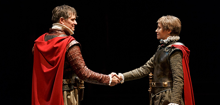 Jonathan Goad as Marcus Brutus and Irene Poole as Cassius. Photography by David Hou.