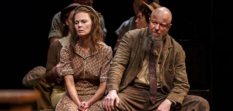 Jonelle Gunderson as Mayella Ewell and Randy Hughson as Bob Ewell. Photography by David Hou.