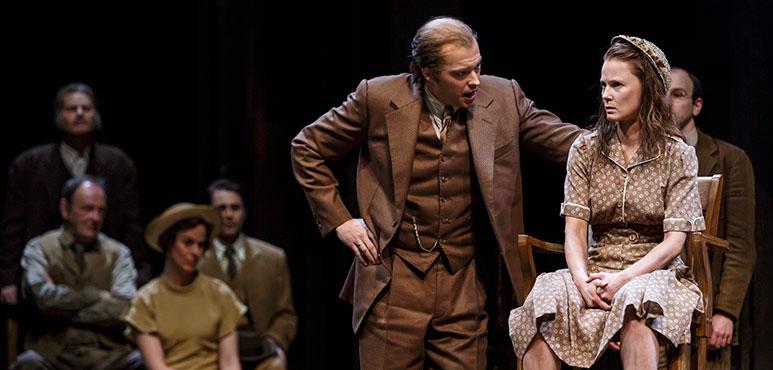 Brad Hodder as Mr. Gilmer and Jonelle Gunderson as Mayella Ewell. Photography by David Hou.