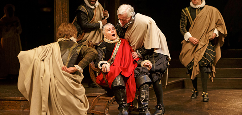 Seana McKenna (centre) as Julius Caesar with members of the company. Photography by David Hou.