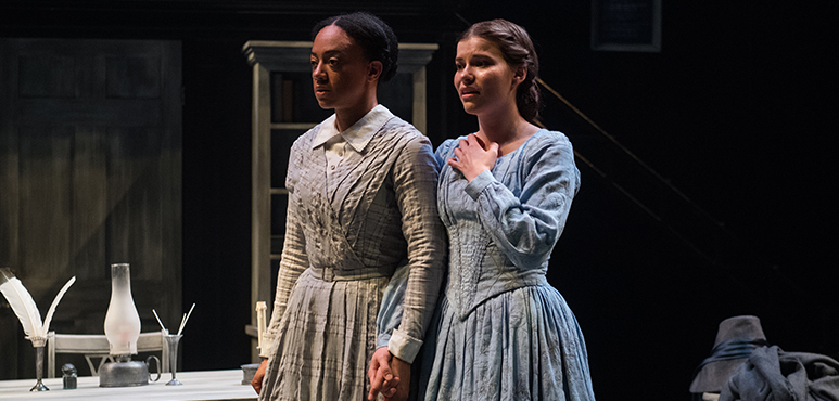 Beryl Bain as Charlotte Brontë and Andrea Rankin as Anne Brontë. Photography by Hilary Gauld Camilleri.