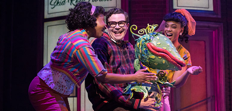 From left: Starr Domingue as Crystal, André Morin as Seymour Krelborn and Vanessa Sears as Ronnette in Little Shop of Horrors. Photography by Chris Young.