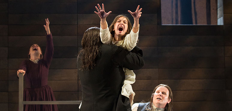 Aviva Goad (centre) as Betty Parris with members of the company in The Crucible. Photography by Cylla von Tiedemann.