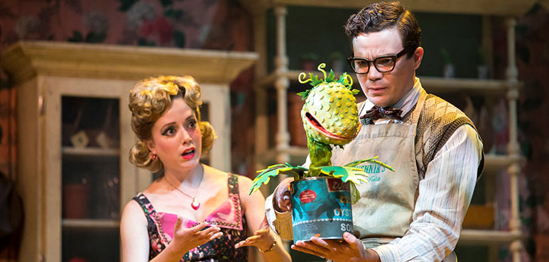 Gabi Epstein as Audrey and André Morin as Seymour Krelborn in Little Shop of Horrors. Photography by Chris Young.
