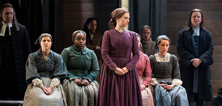 Katelyn McCulloch (centre) as Abigail Williams with members of the company in The Crucible. Photography by Cylla von Tiedemann.