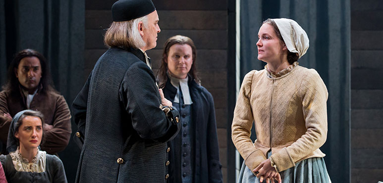 Wayne Best as Deputy Governor Danforth and Shannon Taylor as Elizabeth Proctor with members of the company in The Crucible. Photography by Cylla von Tiedemann.
