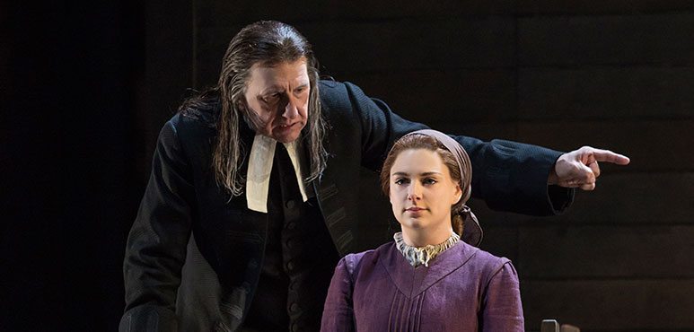 Scott Wentworth as Reverend Parris and Katelyn McCulloch as Abigail Williams in The Crucible. Photography by Cylla von Tiedemann.