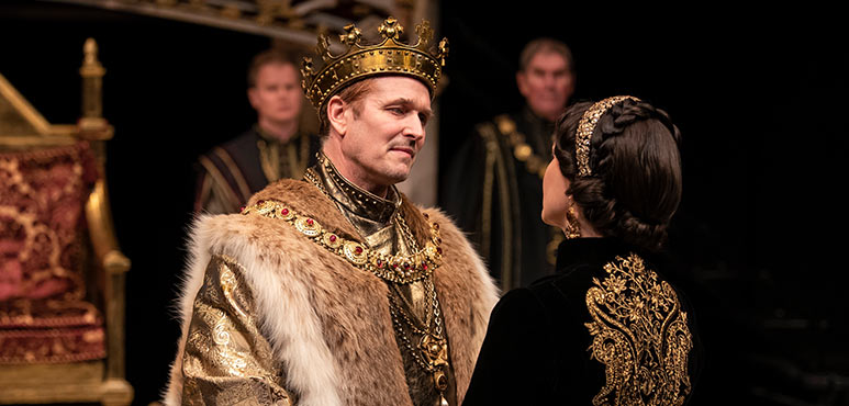 Jonathan Goad as King Henry VIII and Irene Poole as Queen Katherine in Henry VIII. Photography by Emily Cooper.