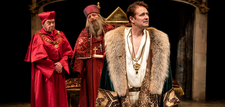 Rod Beattie (left) as Cardinal Wolsey, Ron Kennell as Cardinal Campeius and Jonathan Goad as King Henry VIII in Henry VIII. Photography by Emily Cooper.