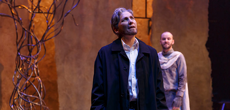 Diane Flacks (left) as Nathan with Jakob Ehman as A Knight Templar in Nathan the Wise. Photography by David Hou.