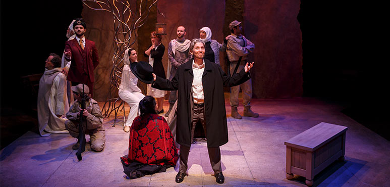 Diane Flacks (centre) as Nathan with members of the company in Nathan the Wise. Photography by David Hou.