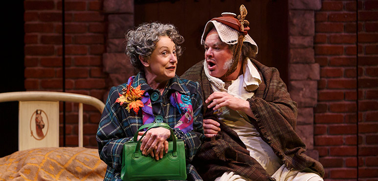 Lucy Peacock as Miss Quickly and Geraint Wyn Davies as Falstaff. Photography by David Hou.