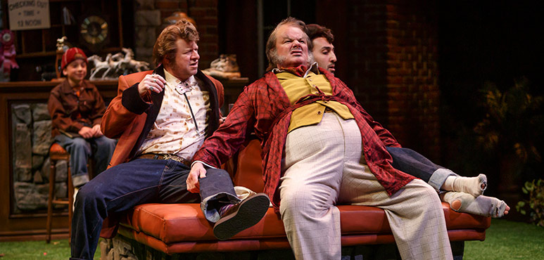 From left: Randy Hughson as Pistol, Geraint Wyn Davies as Falstaff and Farhang Ghajar as Nym. Photography by David Hou.
