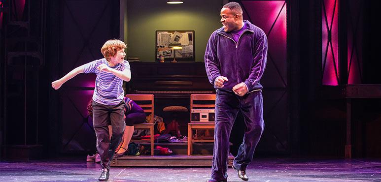 Nolen Dubuc (left) as Billy Elliot and Matthew G. Brown as Mr. Braithwaite in Billy Elliot the Musical. Photography by Cylla von Tiedemann.