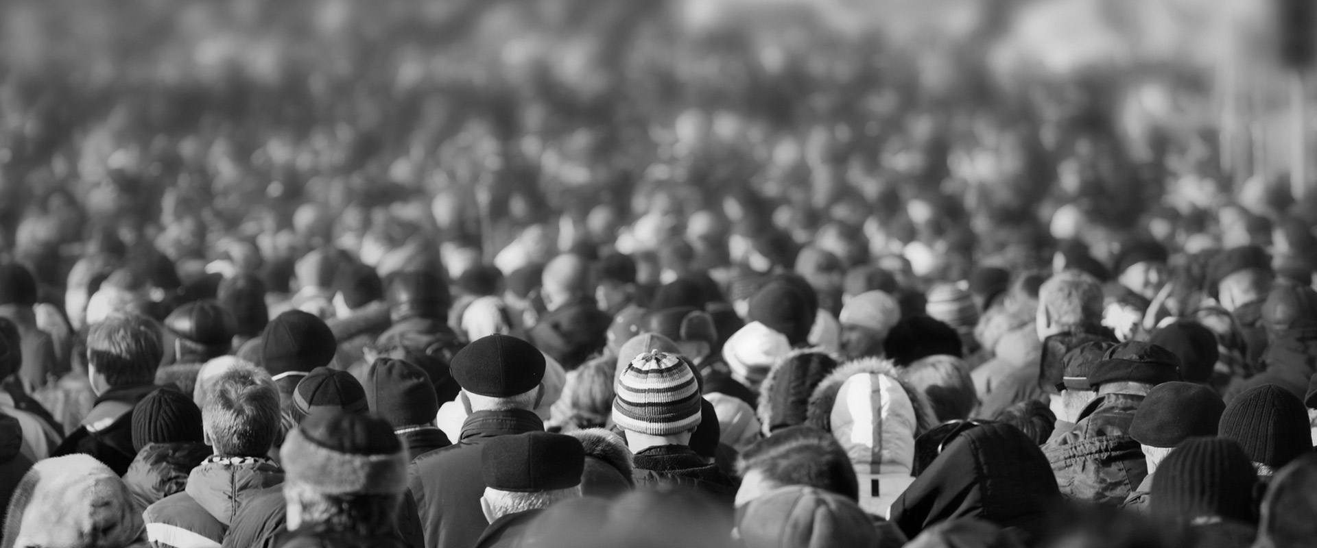 Stock photograph of a crowd of people